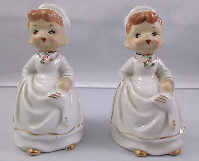 Pair Vintage Chase Hand Painted Bell Figurines Made In Japan - Cook With Goose