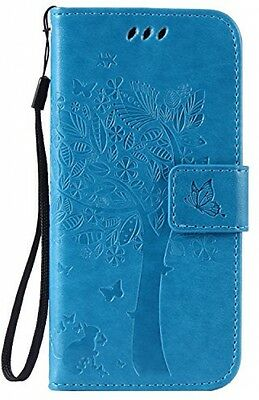 C-Super Mall-UK Apple IPhone 7 Case, Embossed Tree Cat Butterfly Pattern PU For