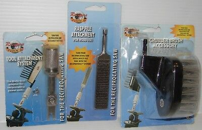 Recipro Tool Attachment, Wood Rasp File, Nylon scrub brush, Assorted Pieces.