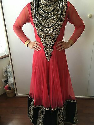 Brand New Ladies Rasberry Pink Asian Indian Wedding Party Dress Churidar Size 10