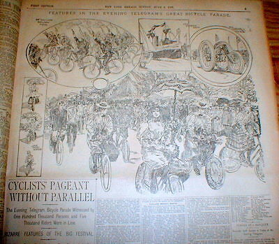 1897 newspaper w Large engraving & description BICYCLE PARADE in NEW YORK CITY