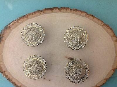 069 VTG French Provincial Knobs Ornate Brass/Ivory Tone 4 Available