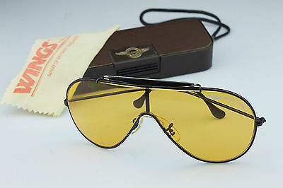 RARE * Ray Ban Wings Ambermatic Black General + case * U.S.A Bausch & Lomb