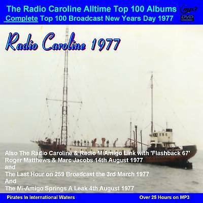 Pirate Radio Radio Caroline TOP 100 Albums+More 1977 Over 25hrs on DVD MP3 Disc