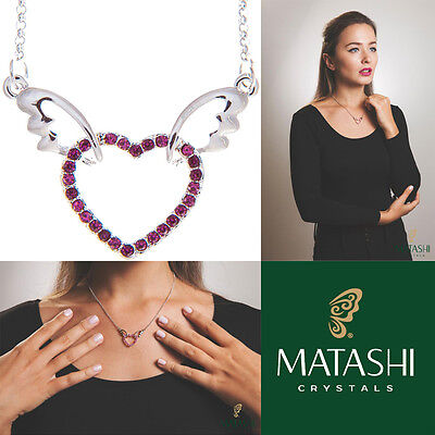 "16"" Rhodium Plated Necklace w/ Winged Heart Design & Purple Crystals by Matashi"