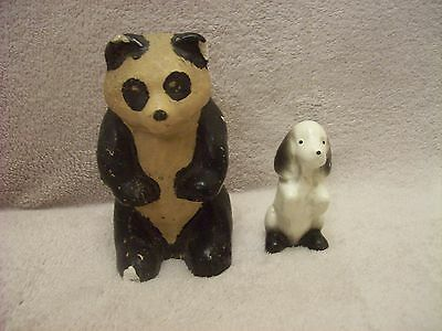 Pottery Panda marked 1945 and Little Dog marked 1960