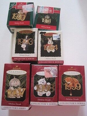 Lot of 7 Hallmark Ornament Fabulous Decade Series in Boxes 1990 9193 94 97 98 99