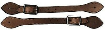 Spur Straps Brown Leather with Edge Stitching  & Stainless Buckle  BNWT