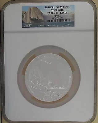 2010 NGC MS 68 Yosemite 5 oz .999 Silver Quarter Early Release