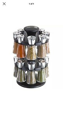 Cole and Mason Hudson 16-Jar Filled Carousel Herb and Spice Rack - Black