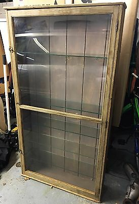 Antique Pharmacist  Medicine Display Cabinet Pine