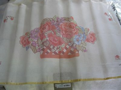 Roses Hand-Painted Needlepoint Canvas For Piano Bench Cover from Better Homes