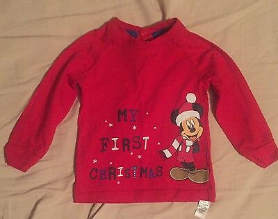 My 1st Christmas Micky Mouse Long Sleeve  Top Age 9-12 Months