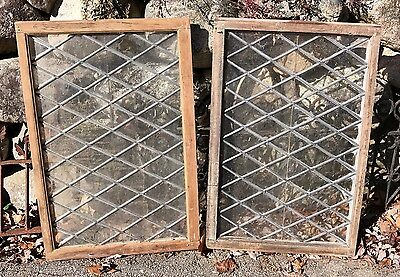 Antique Pair of Leaded Glass Windows w/ Diamond Pattern Dovetailed 35x23 c. 1900