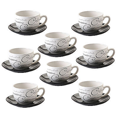 Belgravia Script Coffee Tea Cups Cappucino Cup & Saucers (Black & White)