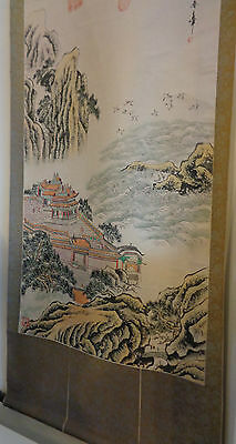 Antique Chinese Hand Painted Signed 7 Red Seal 6Ft Long Silk Scroll
