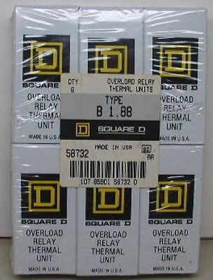 6  NIB Square D Thermal Overload Heaters # B 1.88   B188 Elements