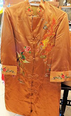 """Vintage Chinese Hand Embroidered  Long Golden Bee 34"""" Silk Jacket"""