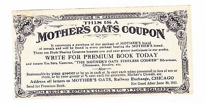 Mother's Oats 1913  Coupon