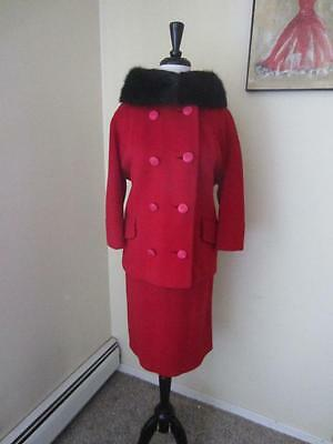 Vintage 1950's 60's Red Wool Skirt Suit Black Fox Fur Collar Mad Men Jackie O M