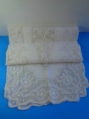 "Vintage Crocheted Embroidered Table Runner 15 1/2"" X 80"""