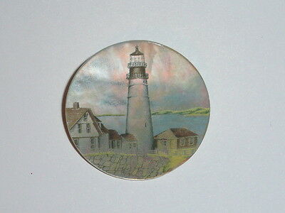 """Pretty Lighthouse & Buildings MOP - Mother Pearl Shank Button 1-3/8"""" Lighthouse"""