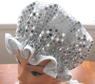 Shower Cap Hat  Australia  Handmade, Waterproof Silver Squin With White Trim
