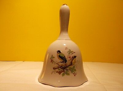 """5.5"""" Tall Beautiful Birds on Porcelain Bell with Clapper 24k Gold Accents Taiwan"""