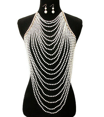 """16"""" gold cream pearl choker necklace 1.75"""" earrings collar body chain armor vest"""