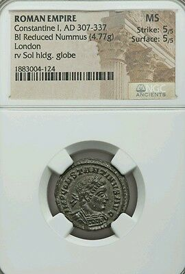 Roman Empire Constantine I NGC MS 5/5 perfect Ancient Silver Coin