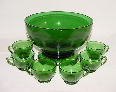 "PERFECT Complete Vintage ""FOREST GREEN"" Punch Bowl, Stand & 12 Cups!!"