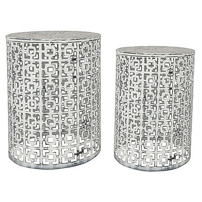 SET OF 2 Temara White Iron Stools Side Tables Coffee Bedside Stands Chairs Nest