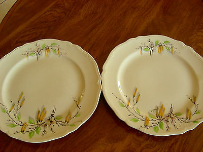 "SET of TWO EDWIN M. KNOWLES ""SYLVIA"" PATTERN 9 IN. DINNER PLATES - EUC"