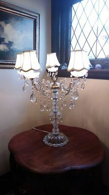 Very large antique/vintage crystal/glass chandelier table lamp