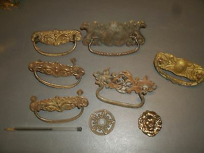 Vintage Drawer Pull Lot Steampunk Handle Industrial Hardware Part Wall ART Lot 7