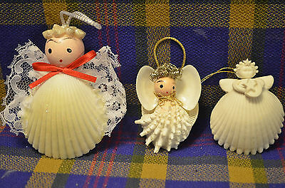 Group of 3 Seashell Angel Ornaments, Each Unique of Others