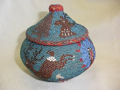 Outstanding~Authentic Early American Indian~Pictorial~Beaded Basket~Lidded~V/n/c