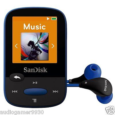 SanDisk Clip Sport 8GB MP3 Player BLUE With LCD Screen and MicroSDHC Card Slot