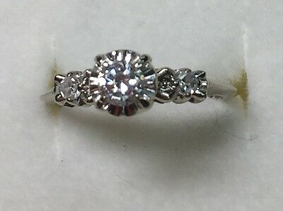 1/4 ct antique NATURAL (REAL ) DIAMOND  Engagement  RING  14K WHITE GOLD