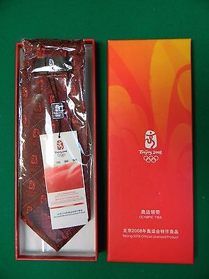 Beijing 2008 Olympic Officials Tie, Red & Gold Silk, New in Box, Very Nice!!