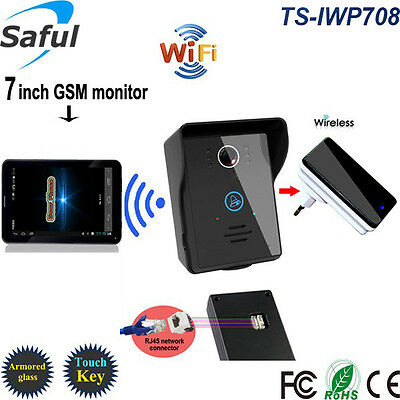"""HD 7"""" Touch Screen 3G Wireless Phone Video Intercom Door Bell Android/IOS WiFi"""