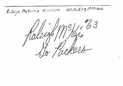 Raleigh Mckenzie Autographed Green Bay Packers 1999 Index Card Tennessee Univers