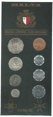 MALTA 1972 8 COIN UNCIRCULATED SET Official Pack