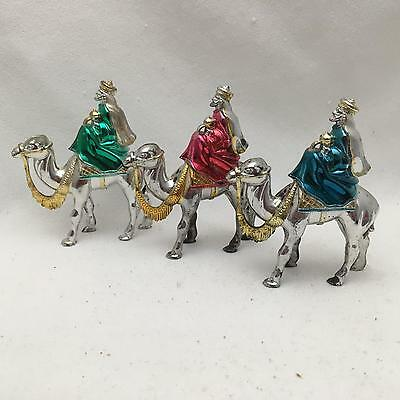 Vintage Hard Plastic Three Kings or Wise Men on Camels Figurines/ Tree Ornaments