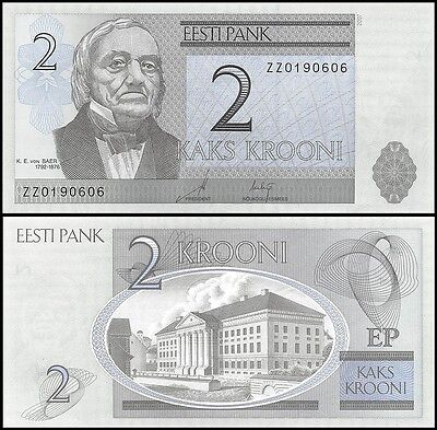 Estonia 2 Krooni, 2007, P-85b, UNC, REPLACEMENT