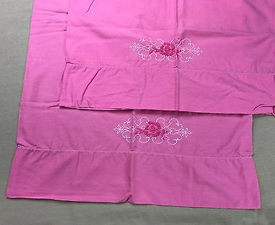 Vintage Pair PINK Pillowcases w Embroidery Standard Size Sheets Embroidered