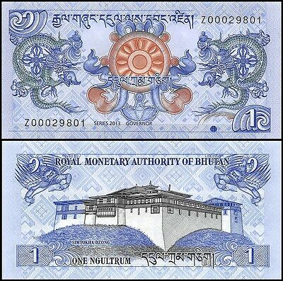 Bhutan 1 Ngultrum Banknote, 2013, P-27b, UNC, REPLACEMENT