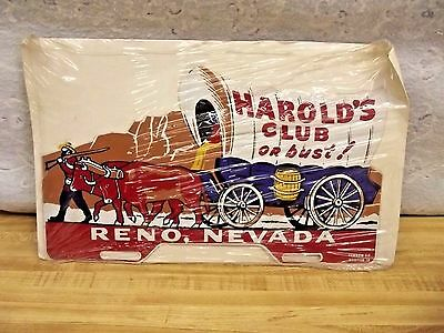 Vintage Harrold's Club Or Bust! License Plate Topper!!! Reno, Nevada  Near Mint
