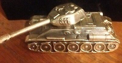 3 oz .925 silver cast tank with rotating turret