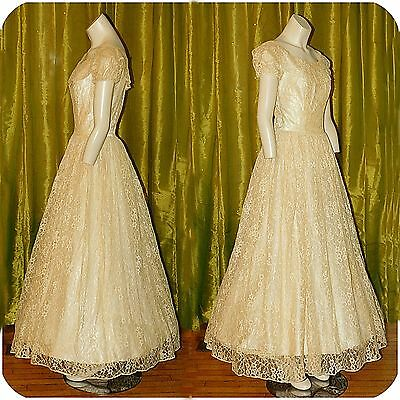 Vintage 1950s Lace Tulle Wedding Gown Dress Crinoline Slip